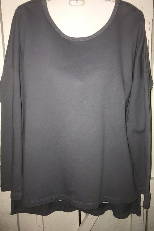 Button Back Sweater in Shark Grey