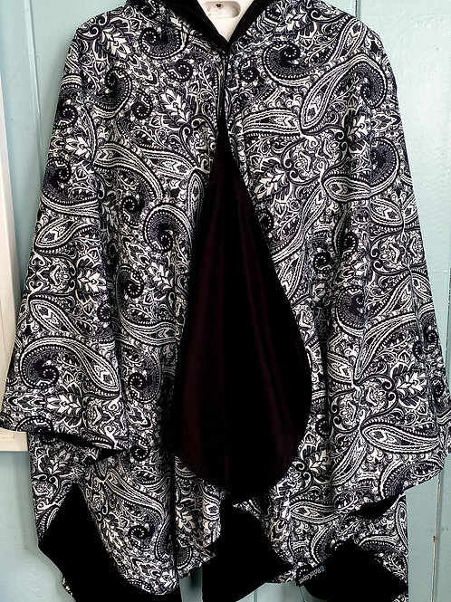 Rain Coat in Black & White Paisley