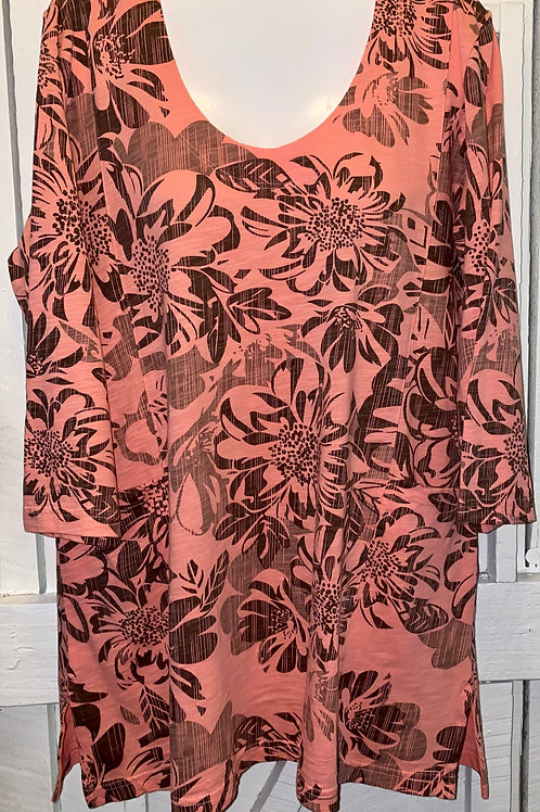 Floral Slub Jersey Tunic in Salmon
