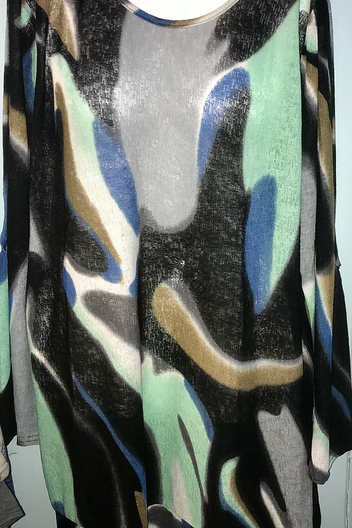 Swirl Color Tunic In Black & Blue