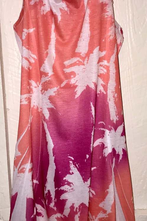 Kids Abstract Palm Tree Dress in Pink