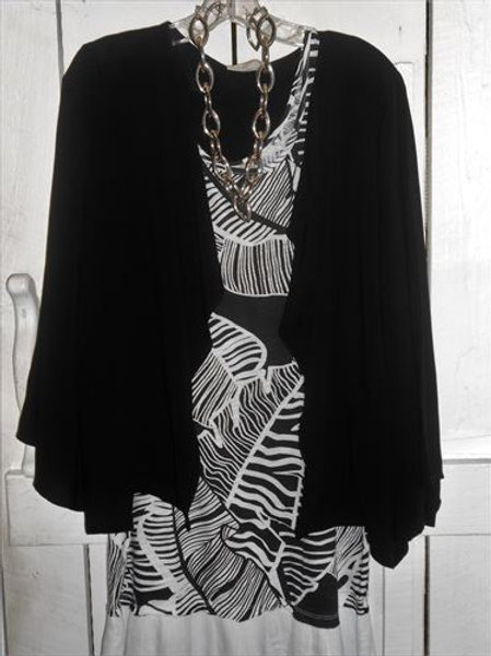 Kimono Sleeve Drape Jacket In Black