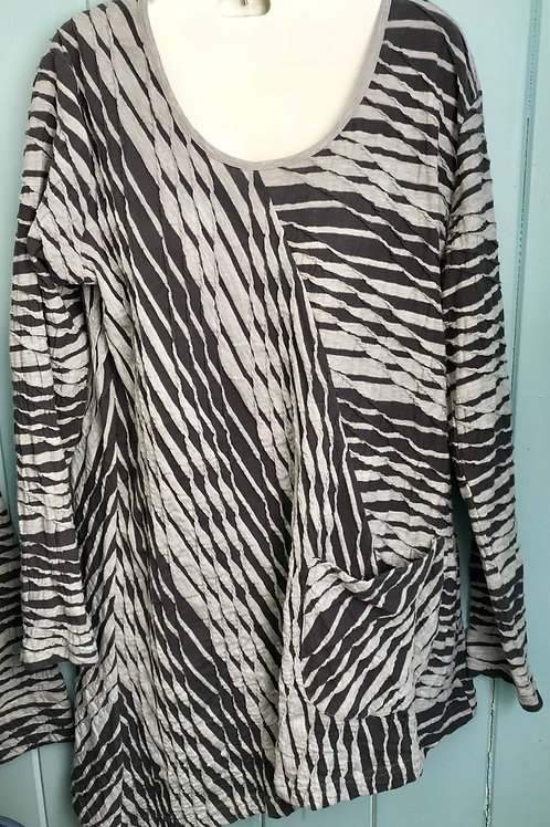 Dalston Stripe Tunic In Silver/Grey