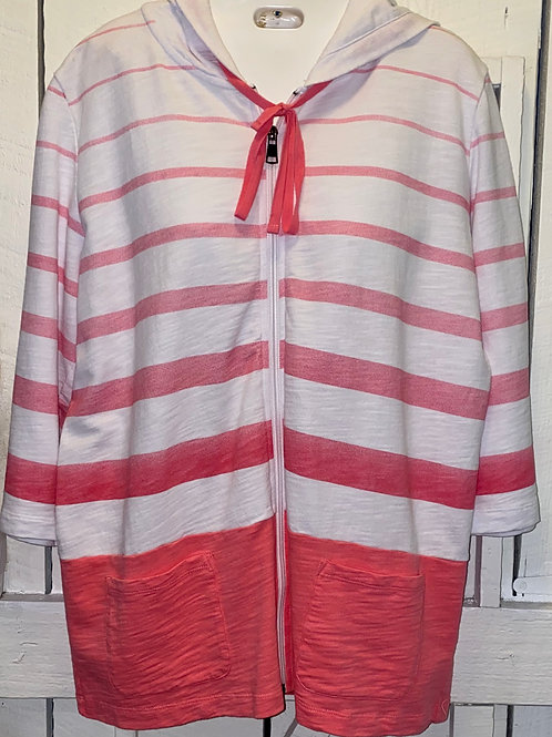 Ombre Stripes Zip Up Hoodie in Guava