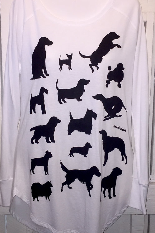 Dog Breeds Tunic Tee in White