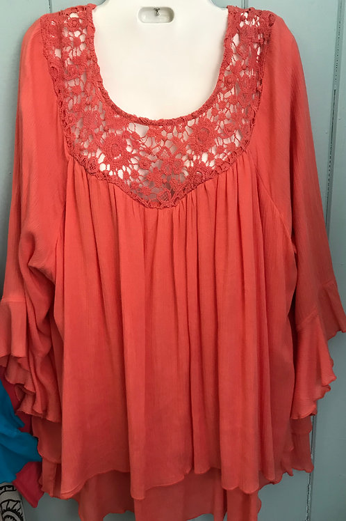 Crochet Blouse In Orange