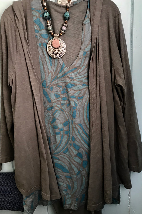 Hooded Open Cardigan In Olive Green
