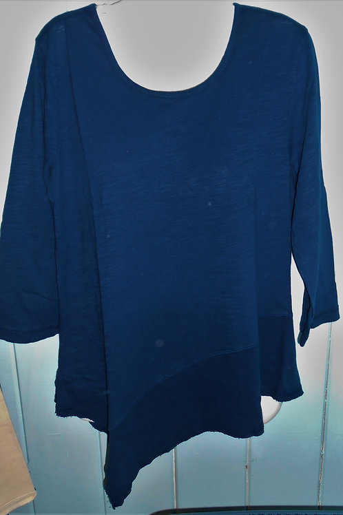Asymmetrical Top With Ribbed Hem In Navy