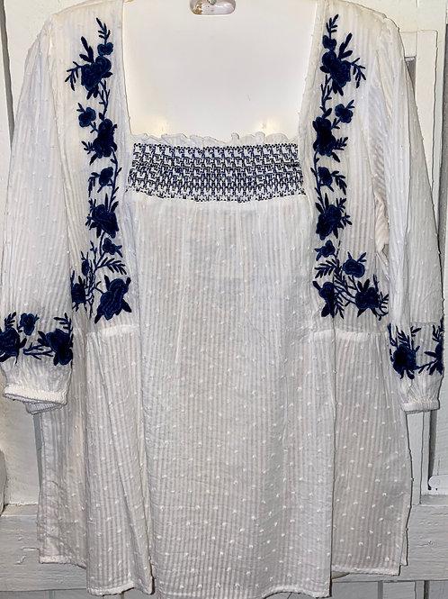 Cotton Blouse in Navy & White
