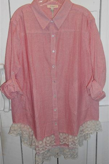 Striped Button-Up Collared Shirt w / Lace Hem in Red