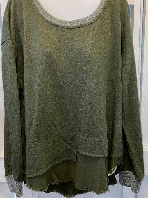 Raw Edge Sweatshirt in Olive