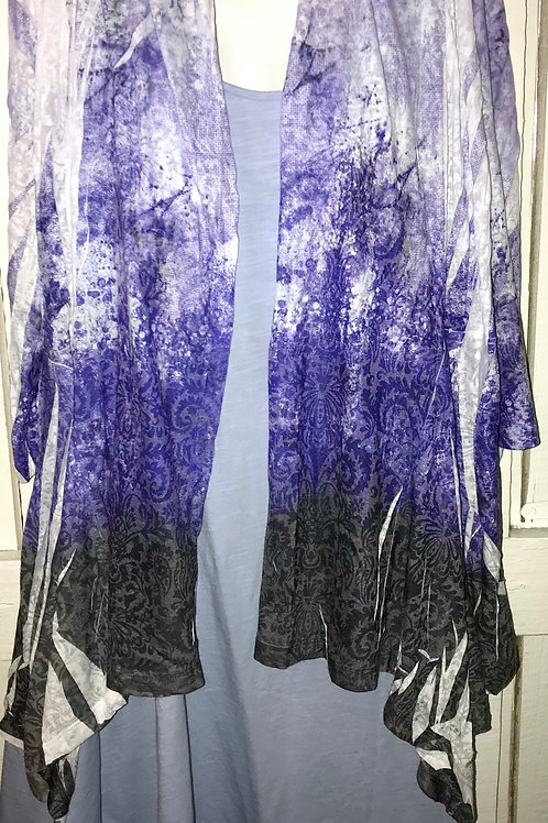 Abstract Burnout Cardigan in Purple