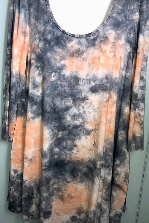 Tye Dye Tunic In Orange & Grey