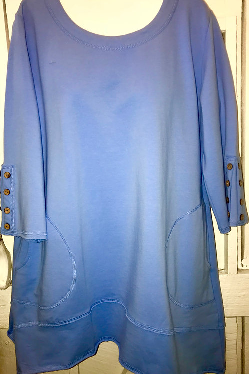 French Terry Tunic in Lagoon