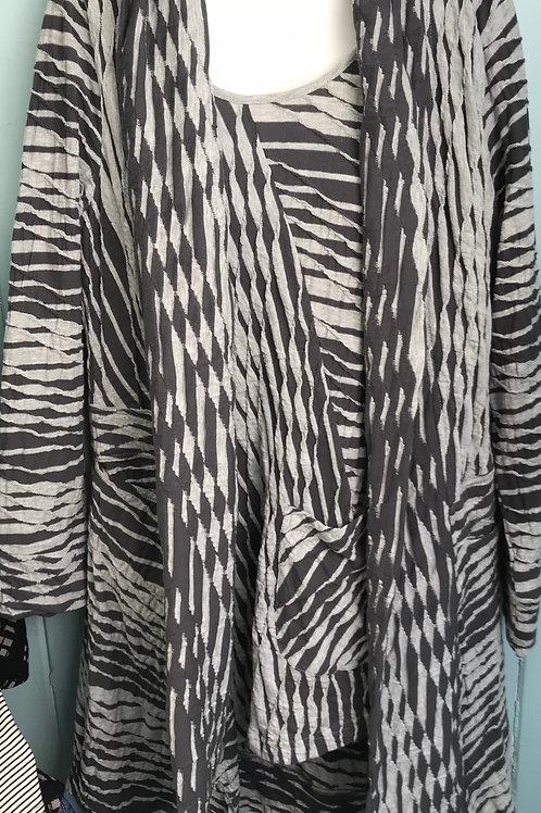 Dalston Stripe Cardigan In Silver/Grey