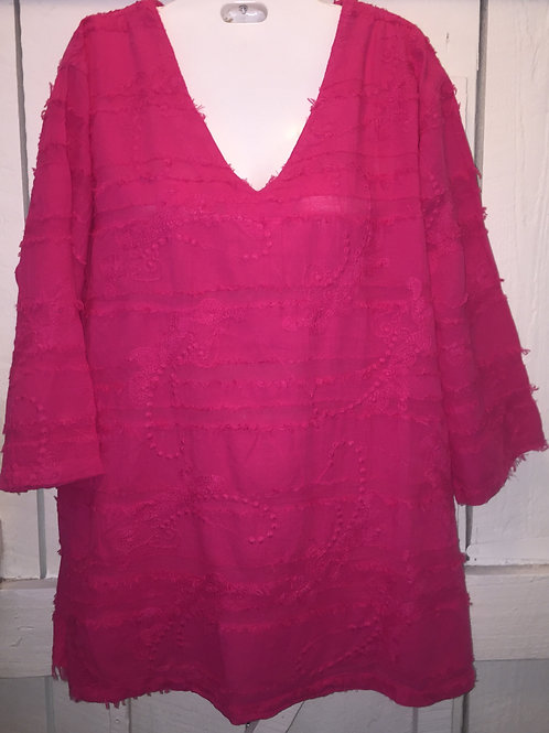 Eyelash blouse in Hot pink