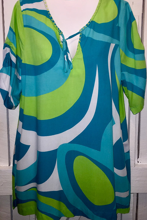 Swirls in Green & White Blouse