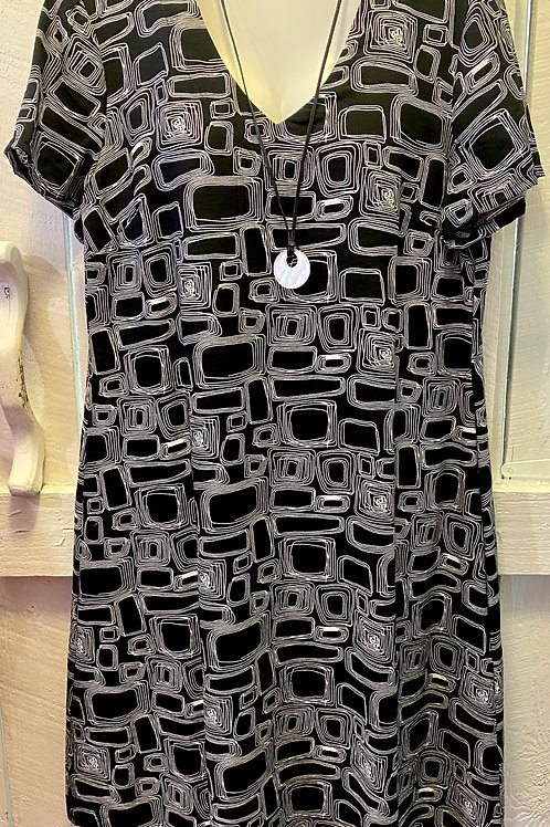 Abstract Squares Dress in Black
