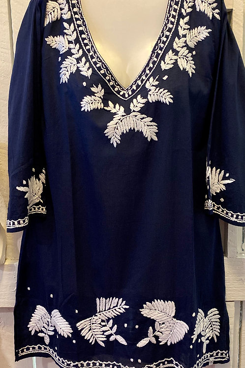 Heliconia Embroidered Tunic in Navy