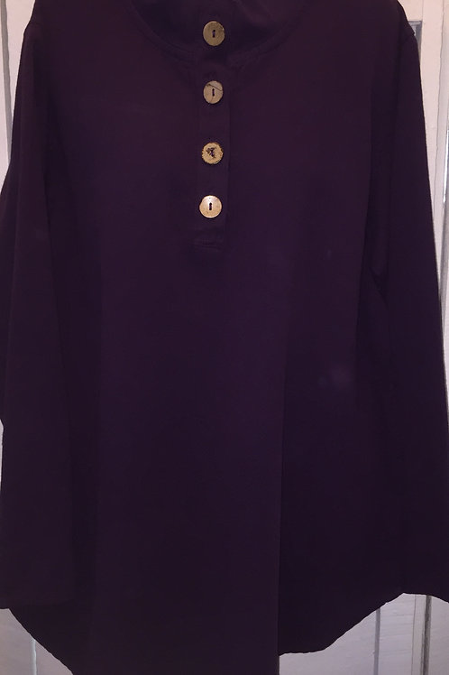 Coconut Button Pullover Sweater in Plum