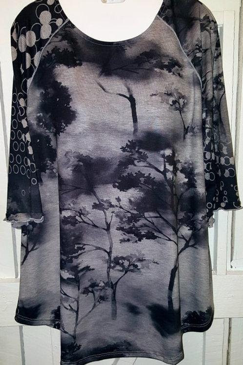 Polka Dot Sleeve Forest Blouse in Black