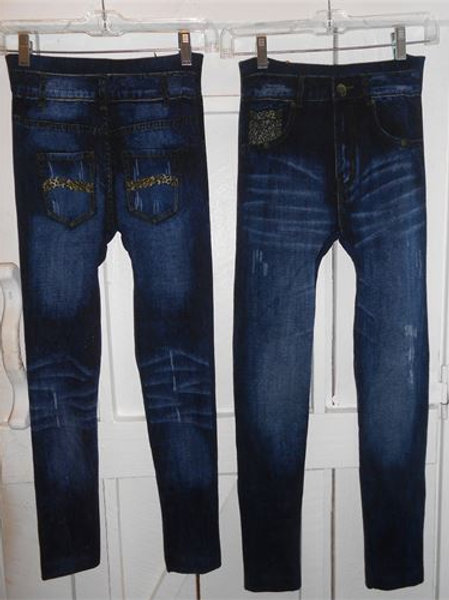 Distressed Jeggings in Dark Denim