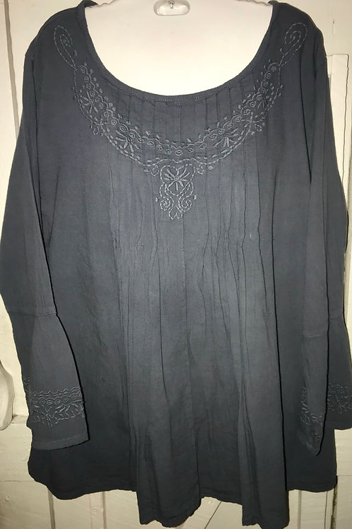 Embroidered Pleated Bell Sleeve Blouse in Dark Grey