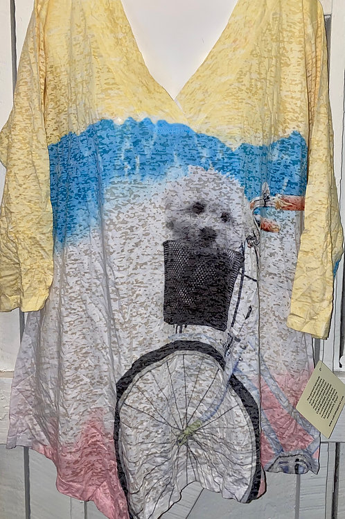Dog on Bicycle Burnout Blouse in Yellow