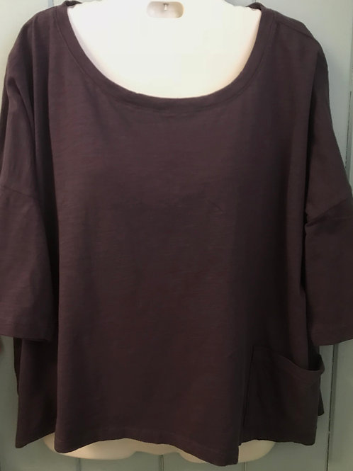 Slubbed Cropped Top In Plum