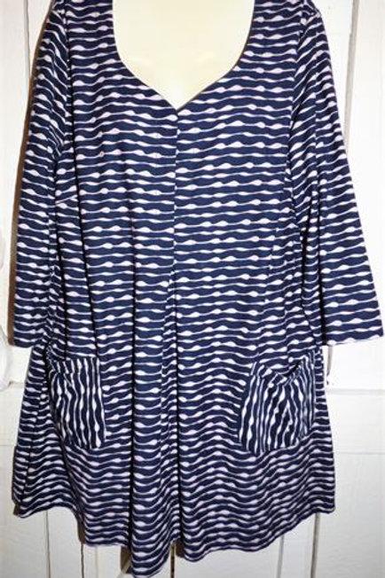 Ripple Stripe Tunic In Blue