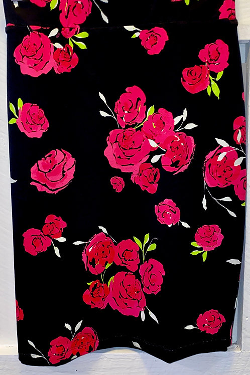 Reversible Rose Pencil Skirt in Black