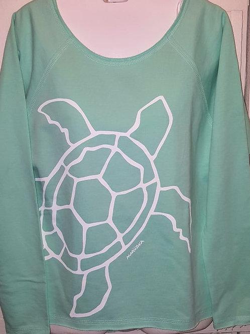 Big Sea Turtle Raw Edge Sweatshirt in Sea Foam