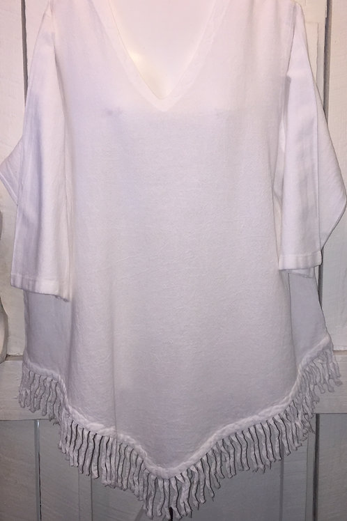 Gauze Fringe Hem Blouse in White