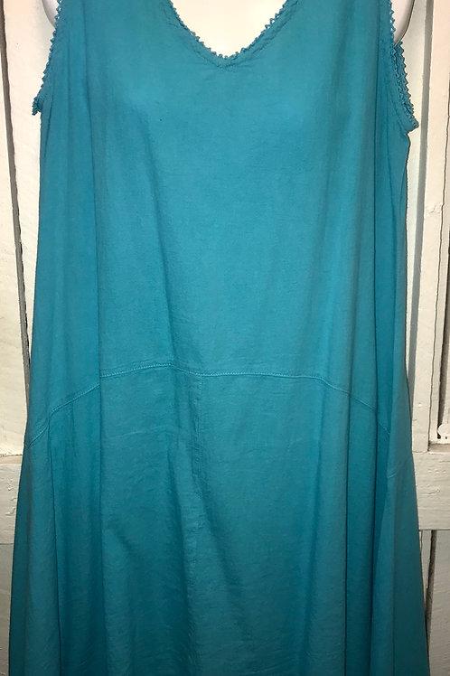 Tank Dress Crochet Trim in Turquoise