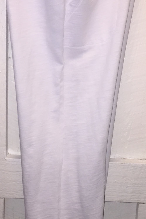 Side Button Cotton Capri's in White