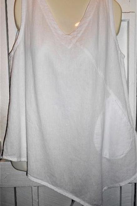 Gauze Asymmetrical Tank Top In White