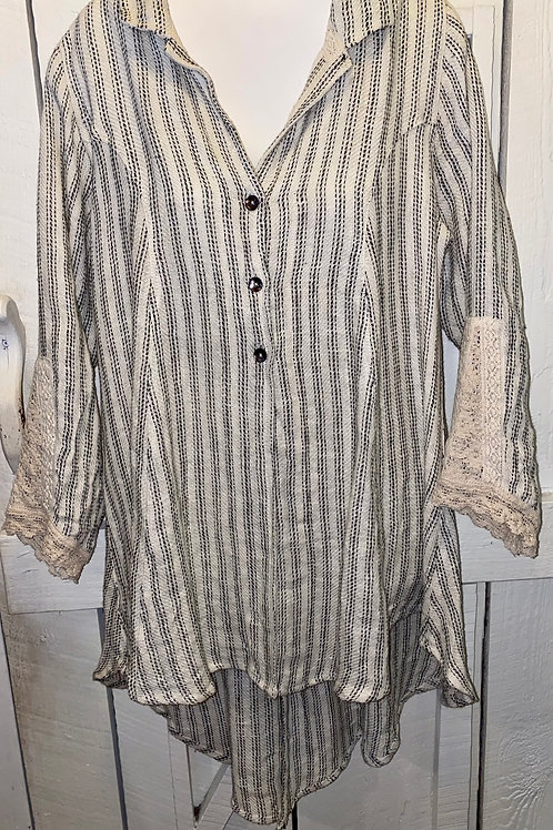 Linen Burlap Striped Button up in Cream