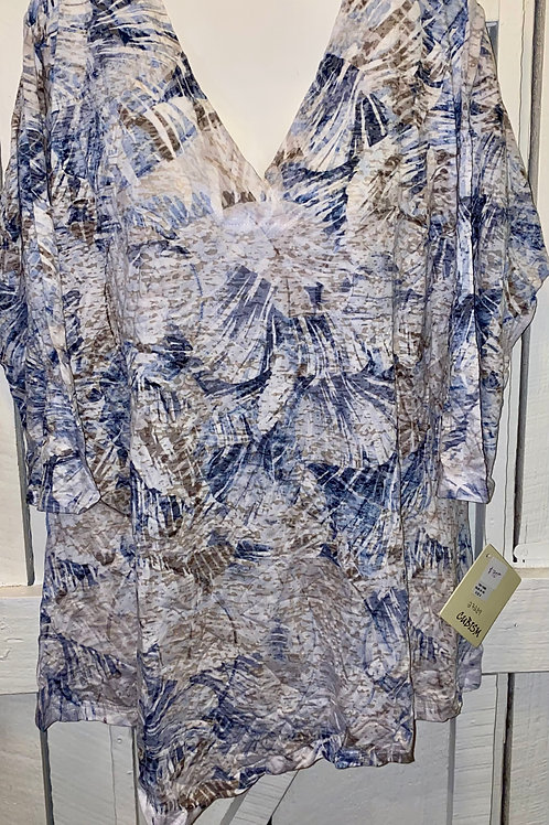 Crinkle Tunic in Taupe & Blue