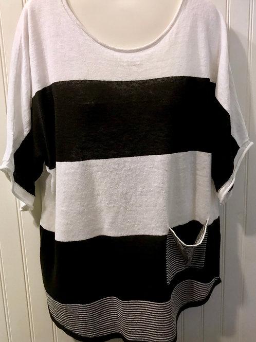 Linen Stripe Shirt in Black & White