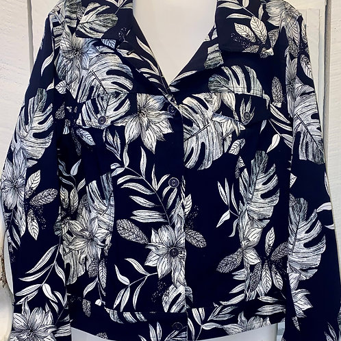 Floral Jacket in Navy & White
