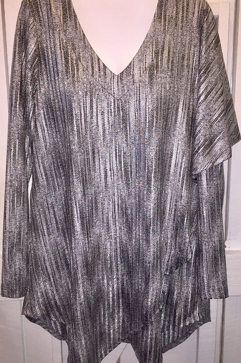 Metallic Asymmetrical Poncho/Blouse in Smoke