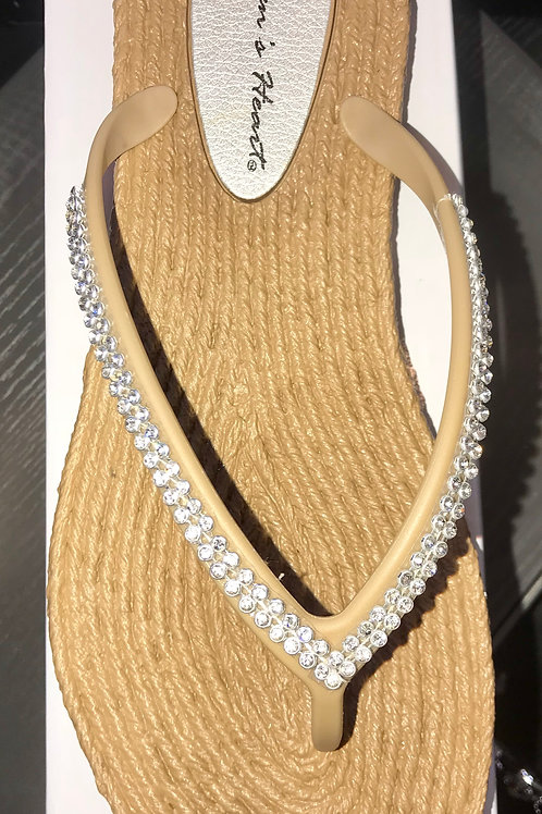 Rhinestone Sandals in Natural