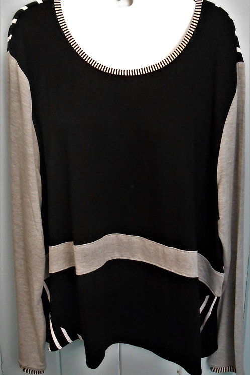2 Tone Striped Blouse In Black & Grey