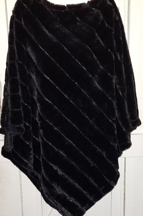 Faux Fur Poncho in Black