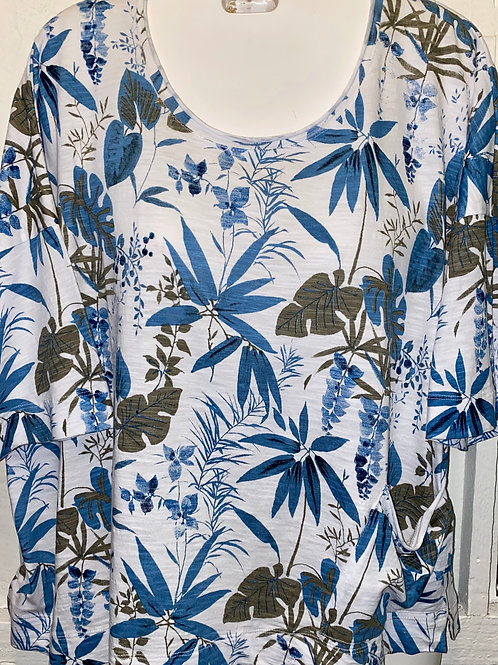 Tropical Print Crop Top in White