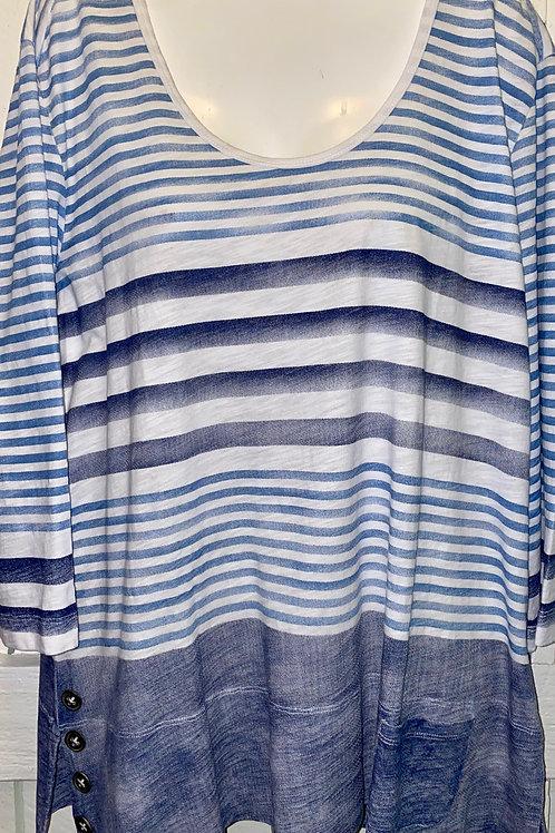 Striped Button Shirt in Denim/White