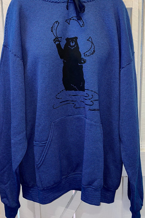 Bear with Fish Hoodie in Blue