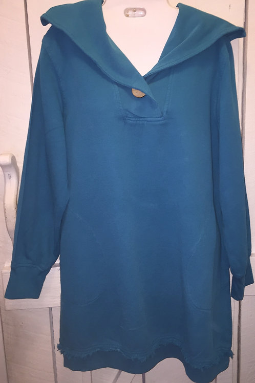 Pullover Sweater with Collar in Turquoise