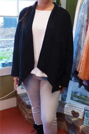French Terry Open Cardigan in Black