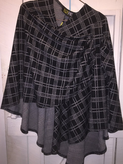 Pull Through Plaid Poncho in Black & White